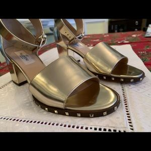 Valentino Shoes - Valentino Rick Stud Gold Sandals